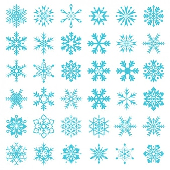 Blue snowflakes collection