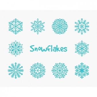 Raccolta blu fiocchi di neve