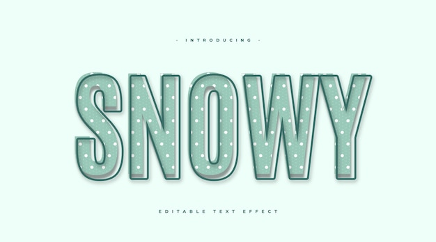 Blue snowy text effect with cartoon style