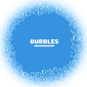 Blue soap or water bubbles background