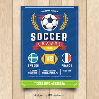 Blue soccer flyer template