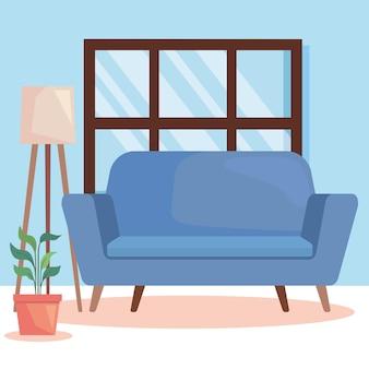 青いソファと観葉植物
