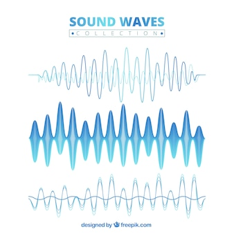 Blue sound wave collection
