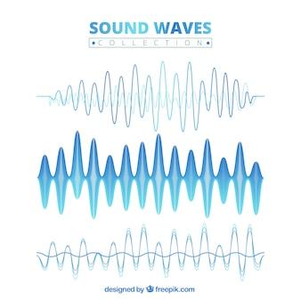 Коллекция синий звуковой волны