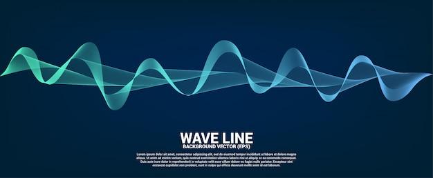 Blue sound wave line curve on dark background