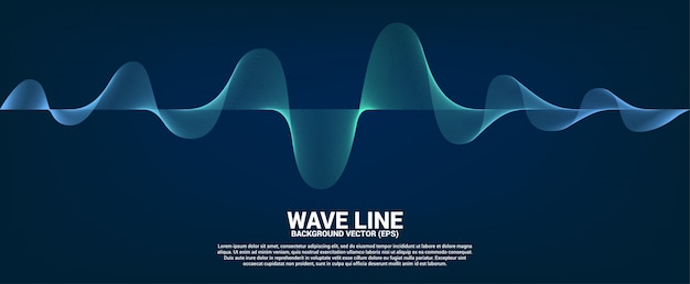 Blue sound wave line curve on dark background