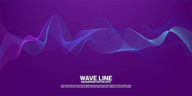 Blue sound wave line curve on purple