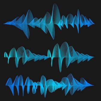 Синие звуковые волны эквалайзер тонкая линия набор элементов электронной музыки импульс для дизайна векторные иллюстрации