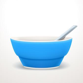 Синяя суповая тарелка