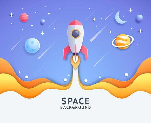 흰색 흔적 그림을 떠나 만화 로켓과 푸른 공간 은하