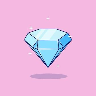 Синий сверкающий красивый бриллиант драгоценный камень векторная иллюстрация дизайн