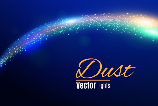 Синие искры и звезды сверкают особым световым эффектом. сверкающие частицы волшебной пыли.