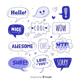 Blue speech balloons with different expressions
