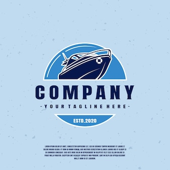 Blue speed boat logo premium