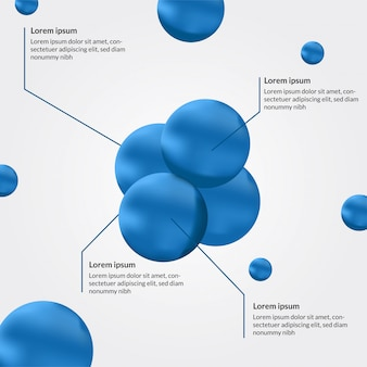 Blue sphere atom info graphic