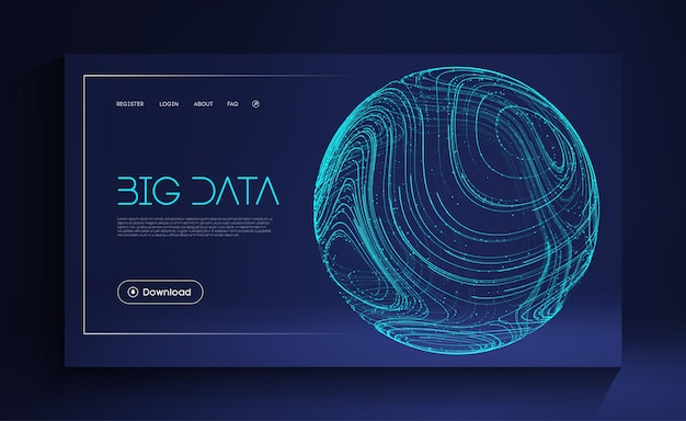 Blue sphere shield on blue background data protect digital illustration abstract sphere energy