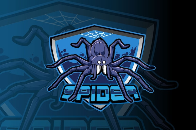Blue spider e-sports team logo template