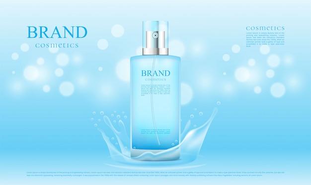 青いスプラッシュ水とボケ背景の化粧品
