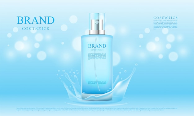Blue splash water and bokeh background cosmetics