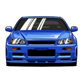 青いスポーツカー正面図手描き