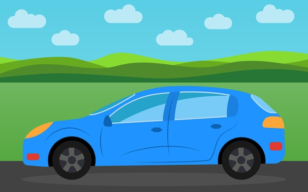 Blue sports car in the background of nature landscape in the daytime. vector illustration.