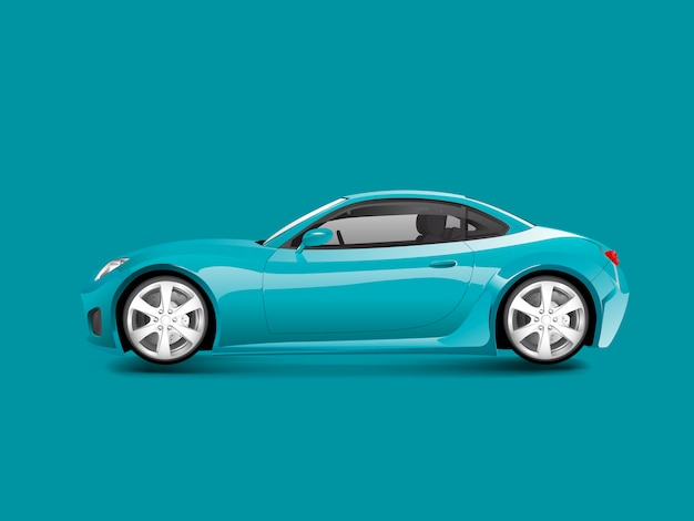 Blue sports car in a blue background vector