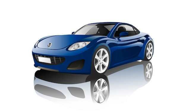 Blue sports car isolated on white vector