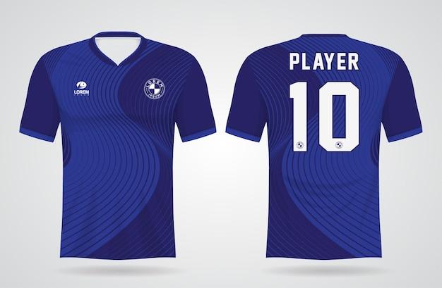 チームのユニフォームとサッカーのtシャツのデザインの青いスポーツジャージテンプレート