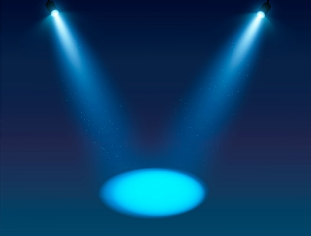 Blue spotlight vector background.