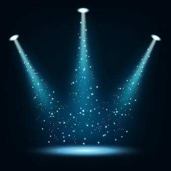 Blue spotlights illuminated with sparkles
