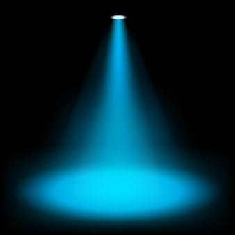 暗い背景に輝く青いスポットライト