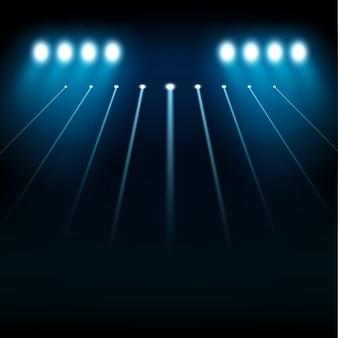 Blue spotlights shining on transparent background