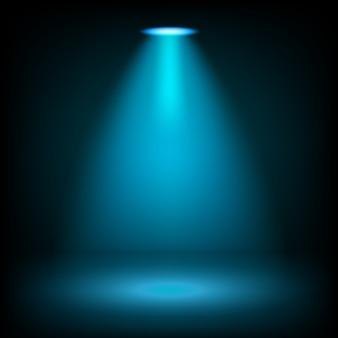 透明な背景に輝く青いスポットライト