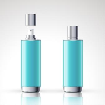 블루 스프레이 병 패키지 디자인 3d 그림에서 설정