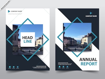 Blue square brochure template