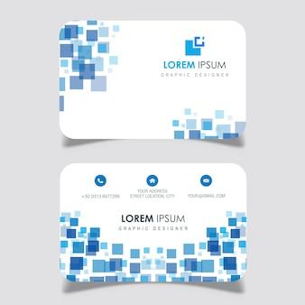 Blue square design business card