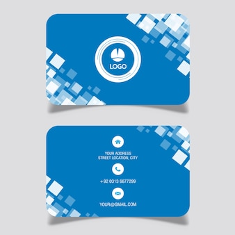 Blue square design business card Free Vector