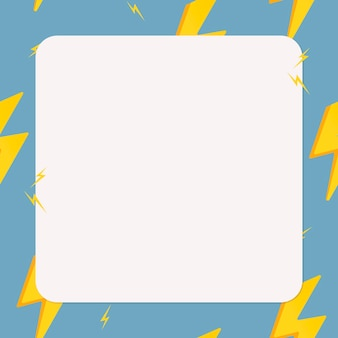 Blue square frame, cute lightning bolt pattern weather vector clipart