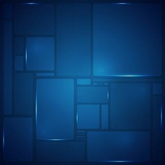 파란색 사각형 패턴 기하학적 미래 배경