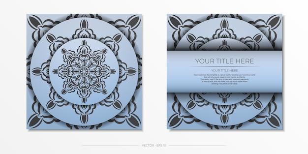 고급스러운 검은색 장식품이 있는 파란색 사각형 엽서. 빈티지 패턴으로 초대 카드 디자인입니다.