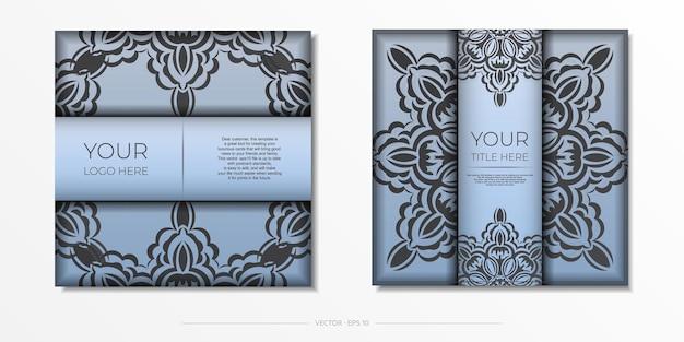 고급스러운 검은색 장식품이 있는 파란색 사각형 엽서. 빈티지 패턴으로 초대 카드의 벡터 디자인입니다.