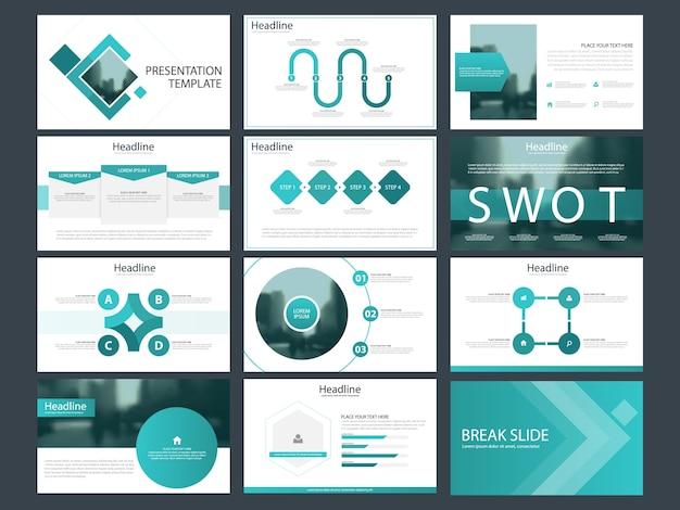 파란색 사각형 프리젠 테이션 템플릿 infographic