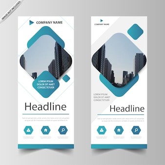 Blue square roll up banner template