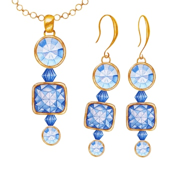 Blue square, round crystal gemstone beads with gold element. watercolor drawing golden pendant on chain and earrings. beautiful hand drawn jewelry set.