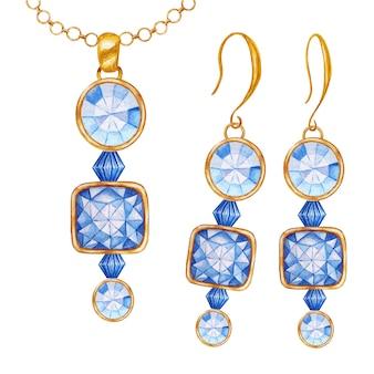 金の要素が付いた青い正方形の丸い結晶の宝石用原石ビーズ。チェーンとイヤリングに金色のペンダントを描く水彩画。美しい手描きのジュエリーセット。