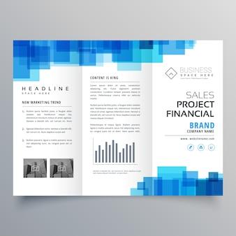 青い四角形の三つ折ビジネスパンフレットデザインテンプレート