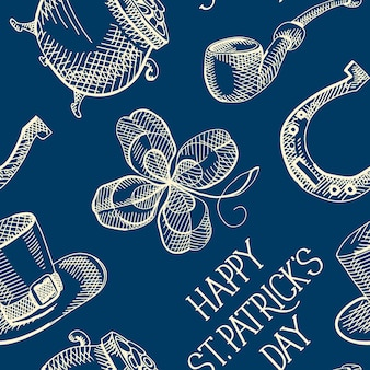 Blue st patricks day seamless pattern with clover hat horseshoe smoking pipe pot of gold coins