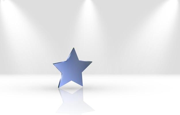 흰색 광택 배경에 파란색 별