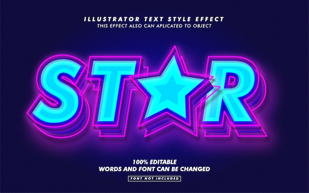 Blue star text style effect mockup