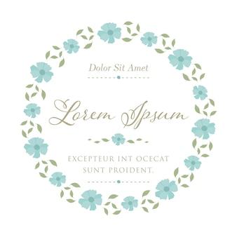 Blue starburst flower for vector frame invitation card template design.